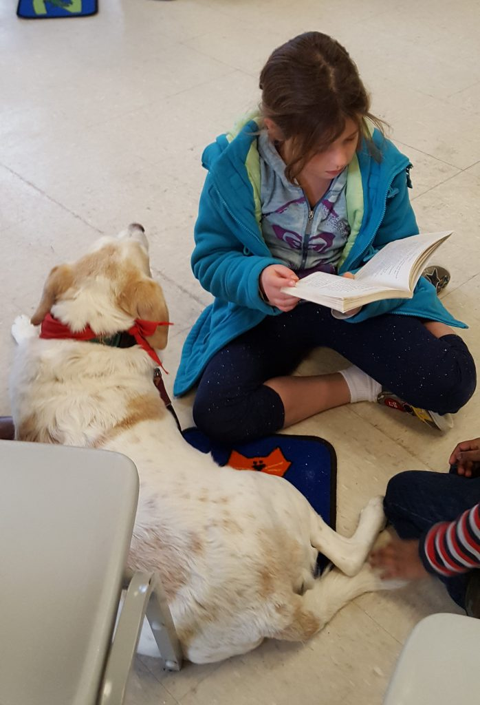 Image of Girl Reading to a dog