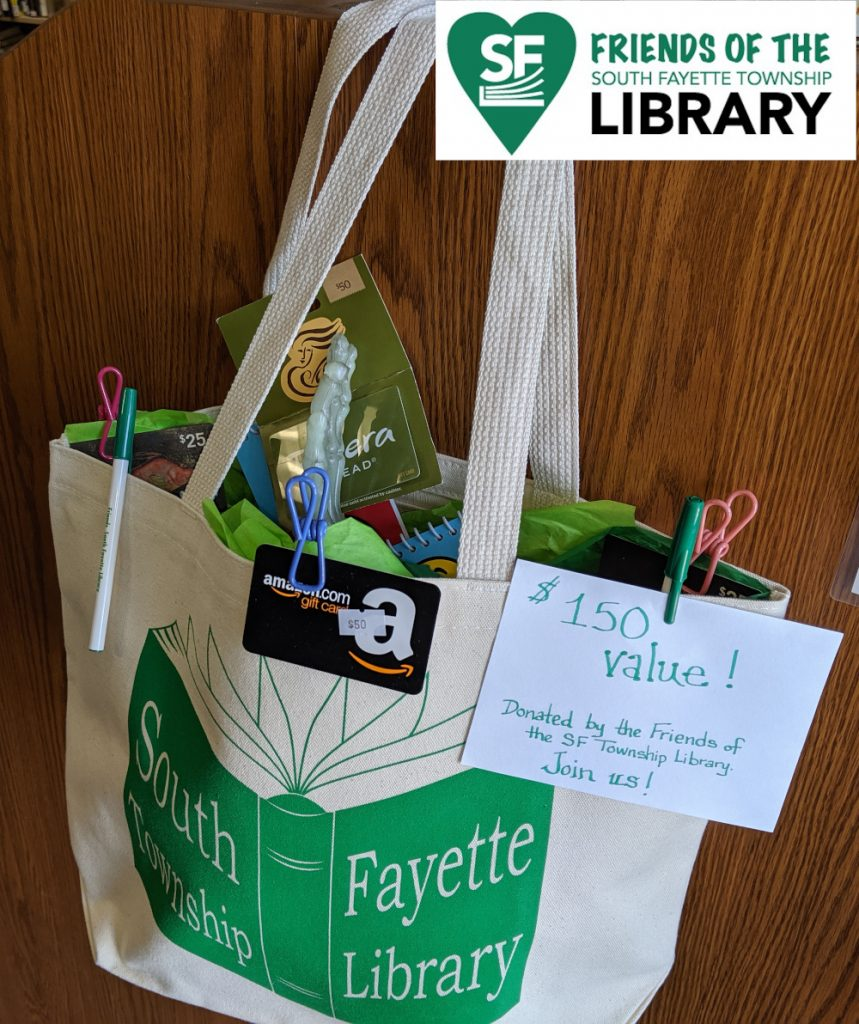 $50 Panera, $50 Amazon, $50 Bonefish Grill, Friends tote bag donated by the Friends of SFTL